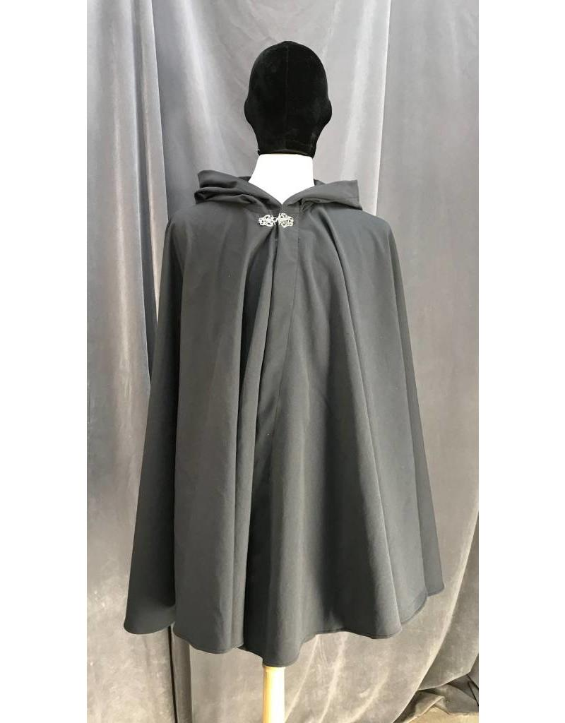 Cloak and Dagger Creations 3944 - Dark Steel Grey  Cotton Full Circle Cloak, Silver Triple Vale Clasp