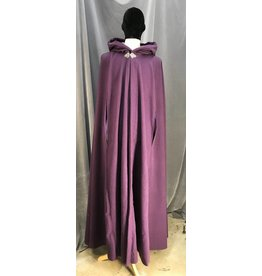 3942 - Extra Long Purple Wool Cloak w/Arm Slits, Purple Cotton Velvet Hood Lining, Pewter Vale Clasp