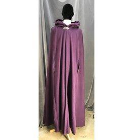 3942 - Extra Long Purple Wool Cloak w/Arm Slits, Purple Cotton Velvet Hood Lining, Pewter Vale Clasp