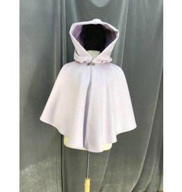 3947 - Lavender Light Purple Wool Cloak, Orchid Purple Cotton Velveteen Hood Lining, Pewter Vale Clasp