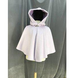 3947 - Lavender Light Purple Wool Cloak, Orchid Purple Cotton Velveteen Hood Lining, Pewter Vale Clasp