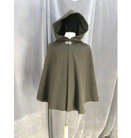 3948 - Brown Shaped Shoulder Cloak, Pewter Vale Clasp