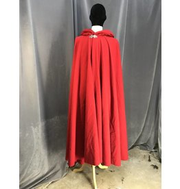 3945 -Red Full Circle Wool Blend Cloak, Black Poly Strech Velvet Hood Lining, Pewter Triple Medallion Clasp