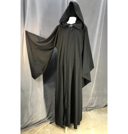 R447 - Black Wool Mage Robe, Pewter Vale Clasp