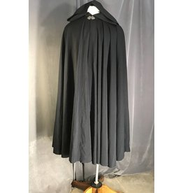 3951 - Navy Summer-Weight Wool Cloak, Silver-tone Vale Clasp