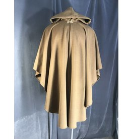 3954 - Tawny Brown Ruana Cloak, Sage Green Velveteen Hood Lining, Gold Tone Triple Medallion Clasp