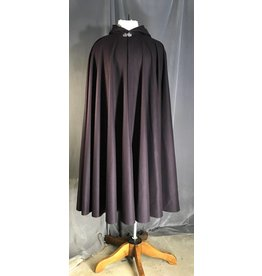 3956 - Deep Eggplant Purple Wool Cloak, Black Cotton Velveteen Hood Lining, Pewter Vale Clasp