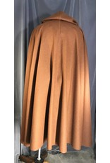 Cloak and Dagger Creations 3957 - Russet Brown Full Circle Wool Cloak, Gold-tone Triple Medallion Clasp