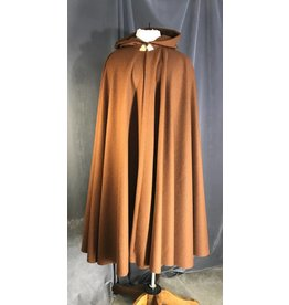 3957 - Russet Brown Full Circle Wool Cloak, Gold-tone Triple Medallion Clasp