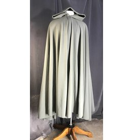 3960 - Sage Green Fleece Full Circle Cloak, Silver-tone Vale Clasp