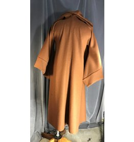 R448 - Russet Brown Wool Jedi Robe, Brown Hook & Loop