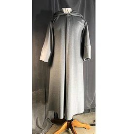 R449 - Heathered Grey Wool Wizard's Robe, Pewter Vale Clasp