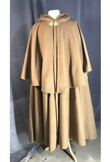 Cloak and Dagger Creations 3958 -Tawny Brown Highwayman Cloak Brown Cotton Velvet Hood Lining, Gold-Tone Triple Medallion Clasp