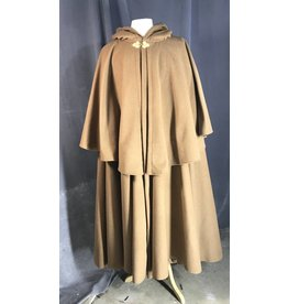 3958 -Tawny Brown  Highwayman's Cloak, Brown Cotton Velvet Hood Lining, Gold-Tone Triple Medallion Clasp