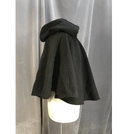 3964 - Black Wool Blend Short Circle Cloak, Pewter Vale Clasp