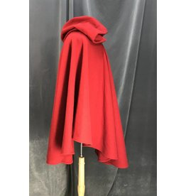 3965 - Washable Cheery Red Ruana Cloak, Unlined Hood, Silver-tone Vale Clasp