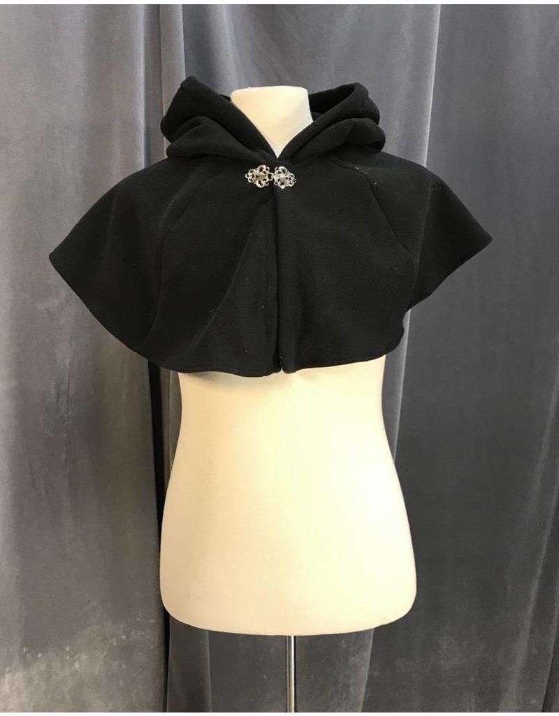 Cloak and Dagger Creations 3967 - Black Windpro Fleece Short Cloak, Pewter Vale Clasp