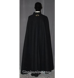 3471 - Heavyweight Ink Black Wool Collared Hoodless Cloak