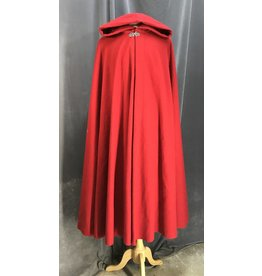 Cloak and Dagger Creations 3962 - Cheery Red Full Circle Washable Cloak, Red Stretch Velvet Hood Lining, Silver-tone Triple Medallion Clasp