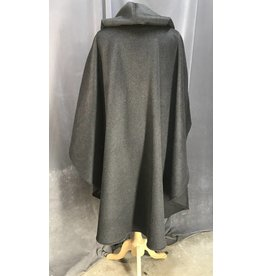 3966 - Dark Heathered Grey Wool Blend Ruana Cloak, Moss Green Stretch Velvet Hood Lining, Silver-tone Vale Clasp