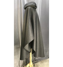 3963 - Dark Heathered Grey Ruana Cloak, Navy Blue Cotton Velvet Hood Lining, Pewter Vale Clasp