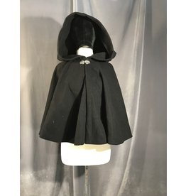 3970 - Black Wool Blend Short Cloak with Silver-tone Vale Clasp