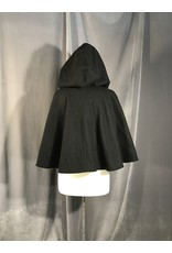 Cloak and Dagger Creations 3970 - Black Wool Blend Short Cloak with Silver-tone Vale Clasp
