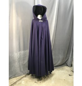 3971 - Royal Purple Full Length Full Circle Cloak, Black Moleskin Hood Lining, Pewter Triple Medallion Clasp