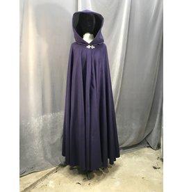 Cloak and Dagger Creations 3971 - Royal Purple Full Length Full Circle Cloak, Black Moleskin Hood Lining, Pewter Triple Medallion Clasp