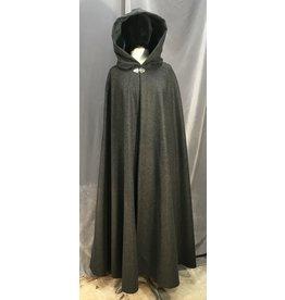 3975 - Dark Heathered Grey Cloak, Spruce Green Velvet Hood Lining, Silver-tone Vale Clasp
