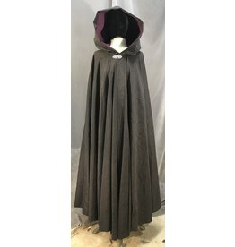 3976 - Washable Black Brocade Full Circle Cloak, Plum Polyester Moleskin Hood Lining, Silver-tone Vale Clasp