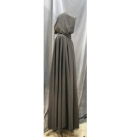 3977 - Dark Color Subtly Patterned Rayon Blend Full Circle Cloak, Brown Moleskin Hood Lining, Silver-Tone Vale Clasp