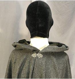 3978 - Dark Heathered Grey Full Circle Cloak, Olive Green Stretch Velvet Hood Lining, Silver-tone Vale Clasp