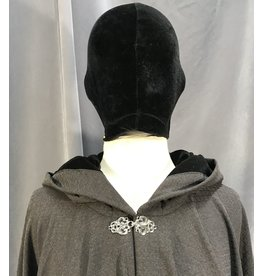 Cloak and Dagger Creations 3979 - Dark Subtly Patterned Full Circle Cloak, Black Stretch Velvet Hood Lining, Silver-tone Vale Clasp