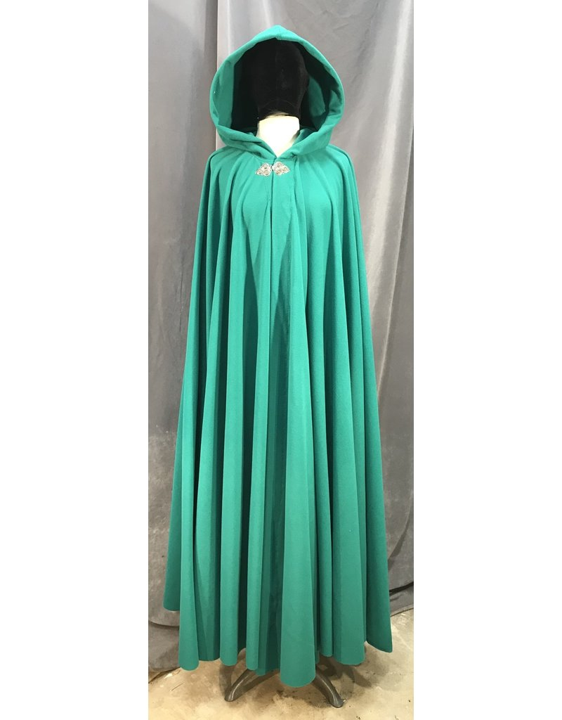 Cloak and Dagger Creations 3980 - Washable Jade Green Fleece Cloak, Pewter Triple Medallion Clasp