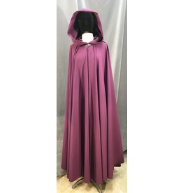 3982 - Washable Plum Wool Cloak, Plum Cotton Moleskin Hood Lining, Silver-Tone Vale Clasp