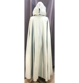 3983 - Washable Mint Green Cotton Cloak, Jade Cotton Moleskin Hood Lining, Pewter Triple Medallion Clasp