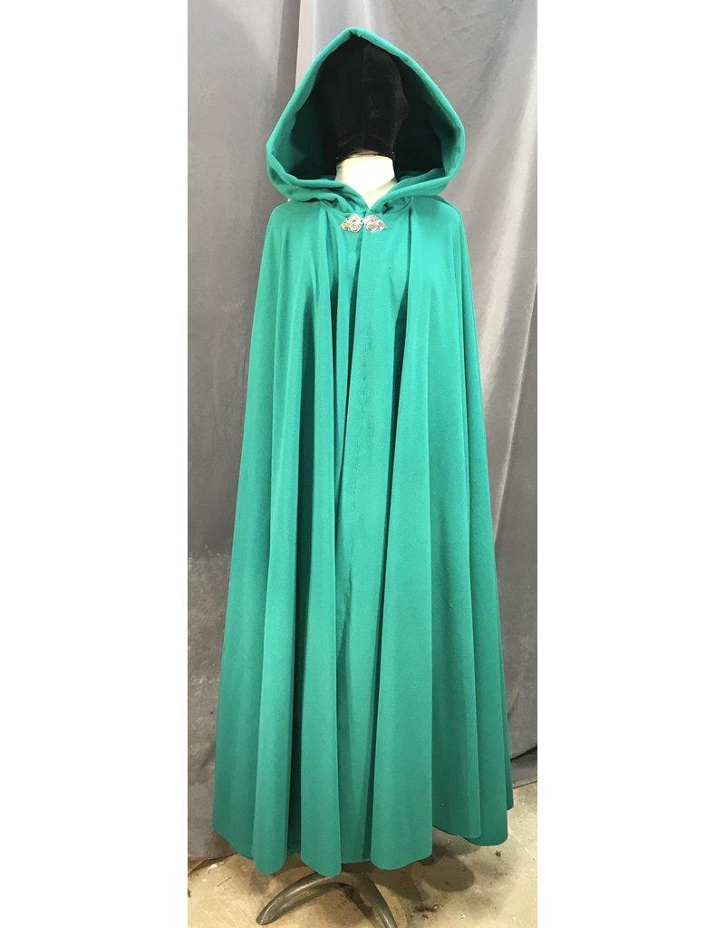 Cloak and Dagger Creations 3984 - Jade Green Windpro Fleece Cloak, Pewter Triple Medallion Clasp