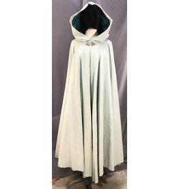 3985 - Mint Green Cotton Cloak, Jade Green Cotton Moleskin Hood Lining, Pewter Triple Medallion Clasp