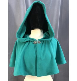 3986 - Jade Green Windpro Fleece Short Cloak, Silver-Tone Vale Clasp