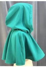 Cloak and Dagger Creations 3986 - Jade Green Windpro Fleece Short Cloak, Silver-Tone Vale Clasp