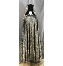 3972 - Washable Full Circle Lace Patterned Cloak, Black Vale Clasp