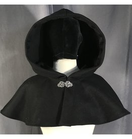 3999 - Black Short Shaped Shoulder Wool Blend Cloak, Silver Tone Vale Clasp