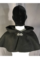 Cloak and Dagger Creations 3999 - Black Short Shaped Shoulder Wool Blend Cloak, Silver Tone Vale Clasp