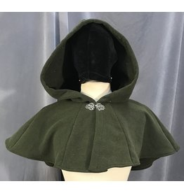 3996 - Olive Green Washable Fleece Short Cloak, Silver-Tone Vale Clasp