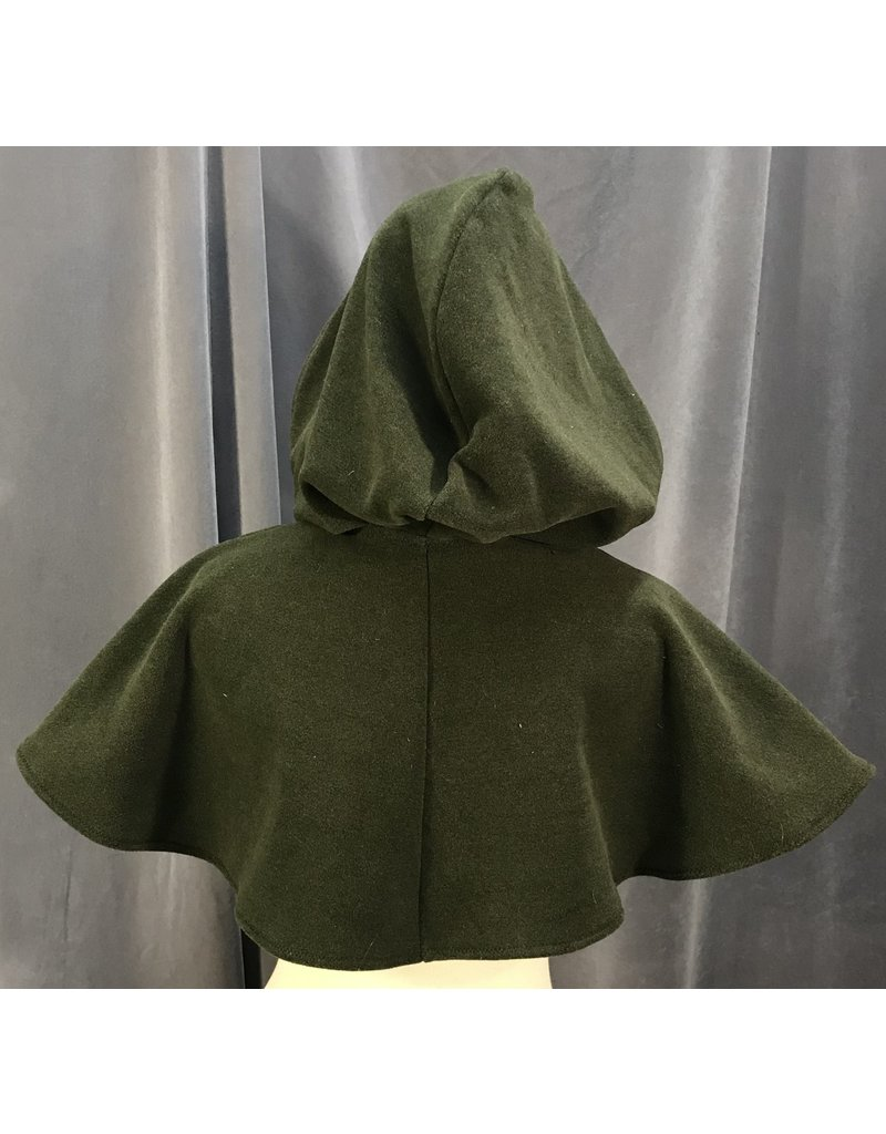 Cloak and Dagger Creations 3996 - Olive Green Washable Fleece Short Cloak, Silver-Tone Vale Clasp
