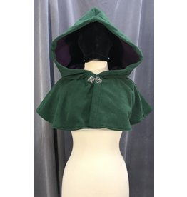 3993 - Green Windbloc Fleece Short Cloak, Purple Self-Lining, Silver-tone Vale Clasp