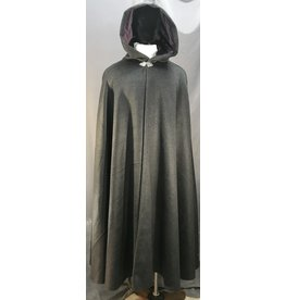 3992 - Heathered Charcoal Grey Shaped Shoulder Cloak, Violet Velveteen Hood Lining, Pewter Triple Vale Clasp