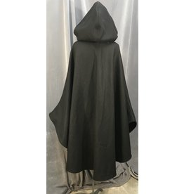 3991 - Black Shaped Shoulder Ruana-Style Cloak, Pewter Triple Medallion Clasp