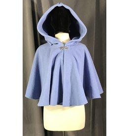 3990 - Periwinkle Blue Fleece Short Cloak, Silver-tone Vale Clasp